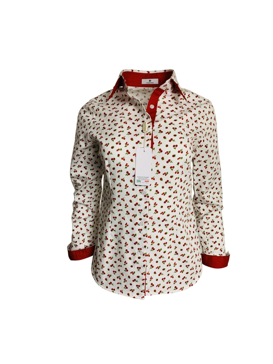 chemise cerise, coton, léger, amusant, rouge