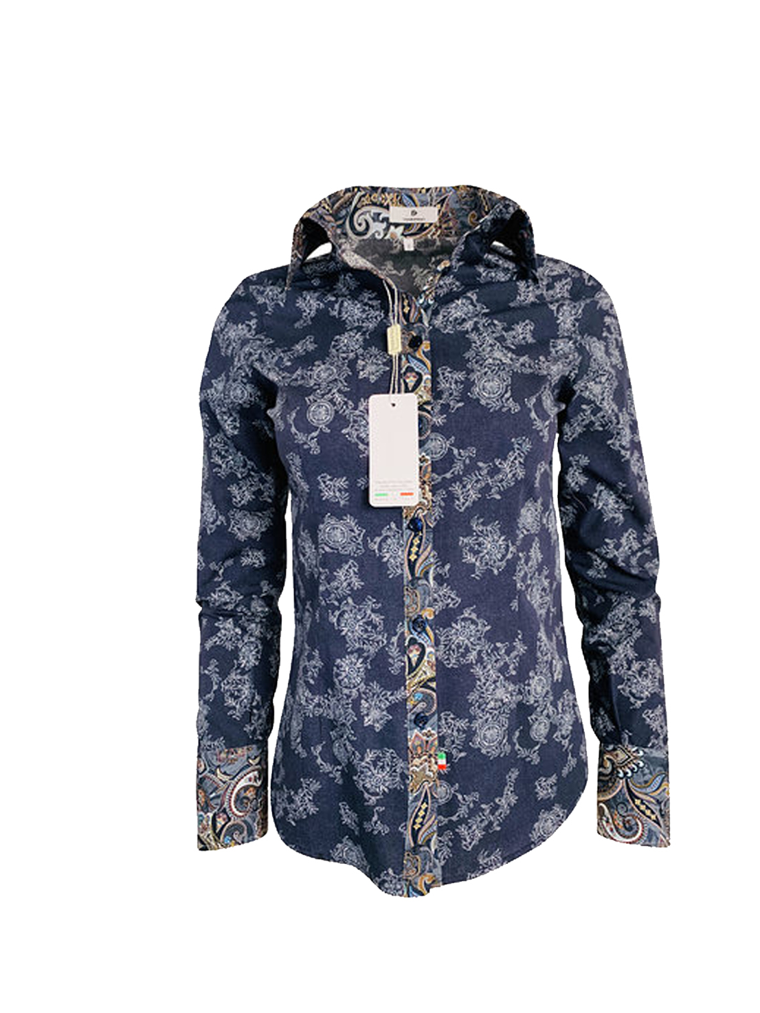 Allegro motif jeans et fantaisie bleu marine. Chemise italienne
