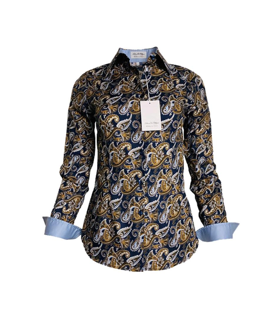 chemise paisley, fantaise, cachemire, marron, élégant, chic