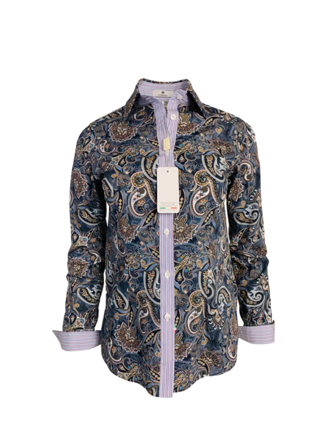 grey paisley blouse, chemise motif cachemire gris