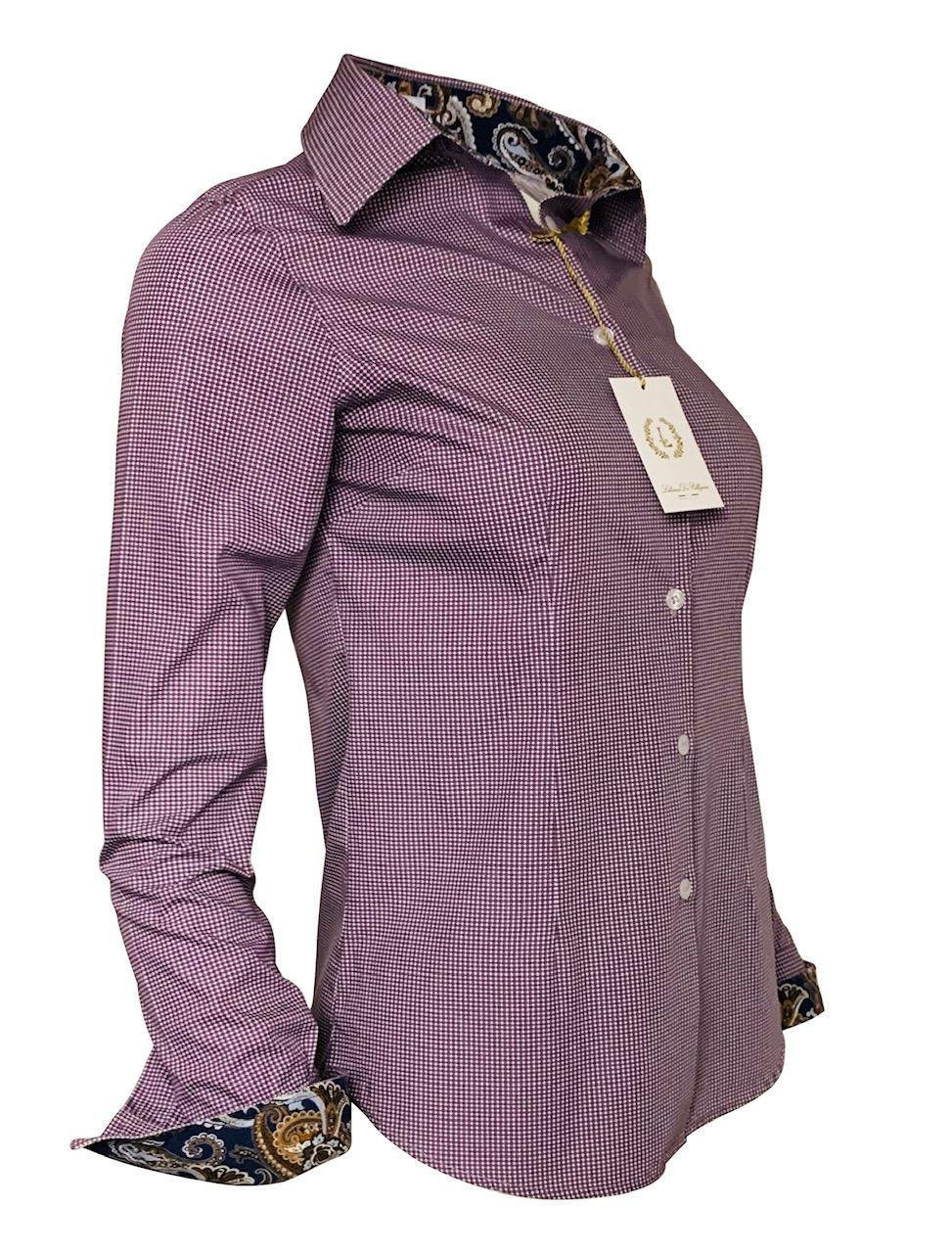chemise motif, bordeaux, fantaisie, chic, élégant, coton