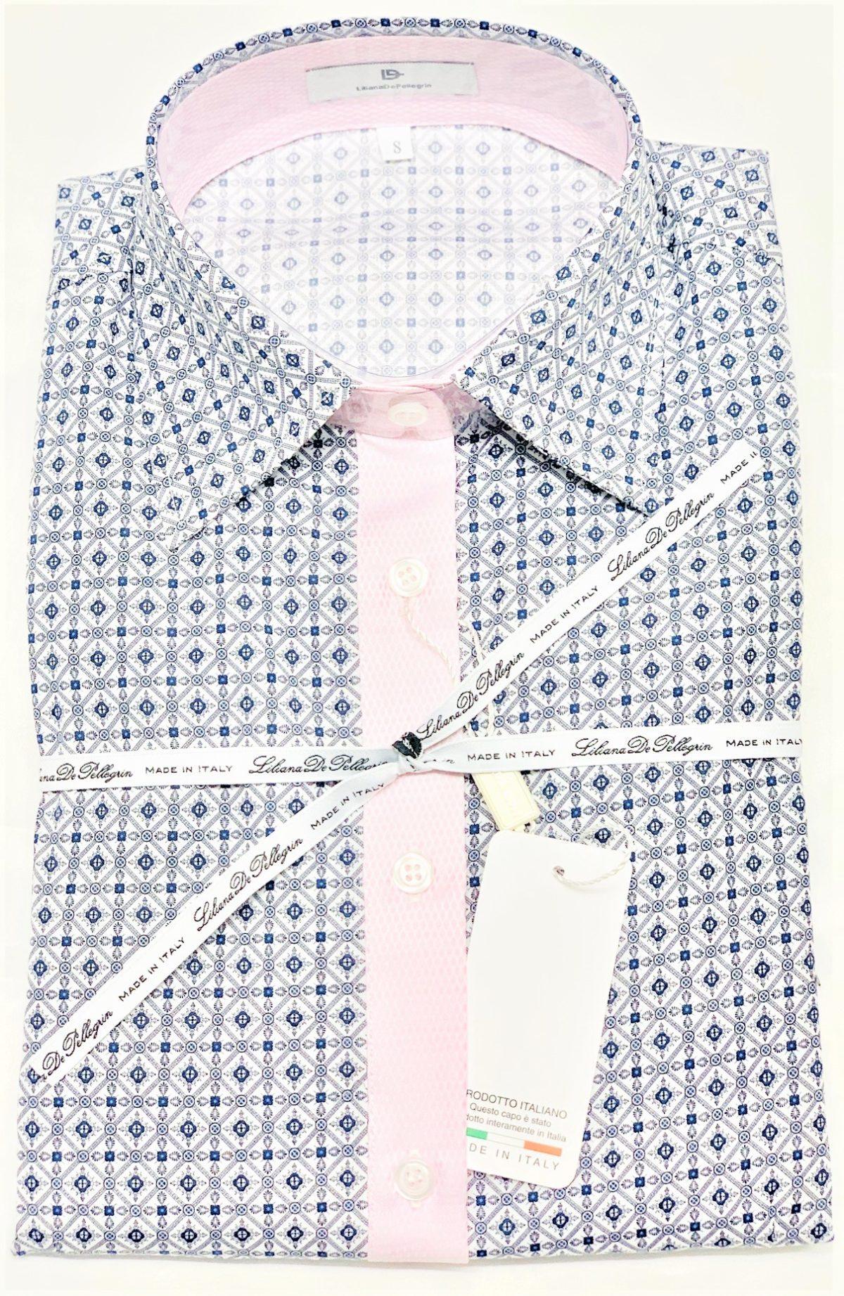 diamond pink blouse - chemise losange rose - chic