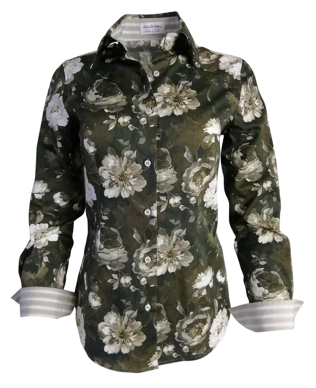 Chemise marron à fleurs